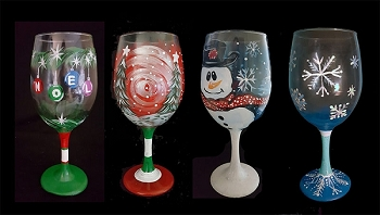 NOVEMBER 12TH SATURDAY 7PM  **BYOB STUDIO PARTY** BRICK - WINTER WINE GLASS COLLECTION - ***PAINT 2 GLASSES*** YOUR CHOICE